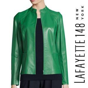 Lafayette 148 NY Hera Lambskin Leather Jacket, 6